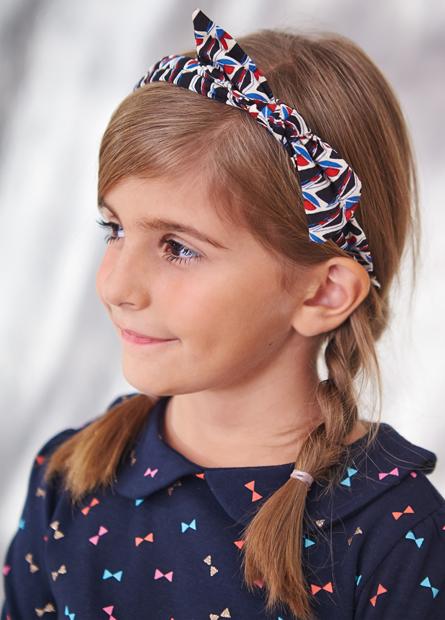 素色印花蝴蝶結髮箍