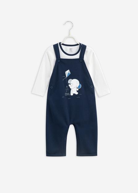 男嬰大象插畫上衣連身褲組