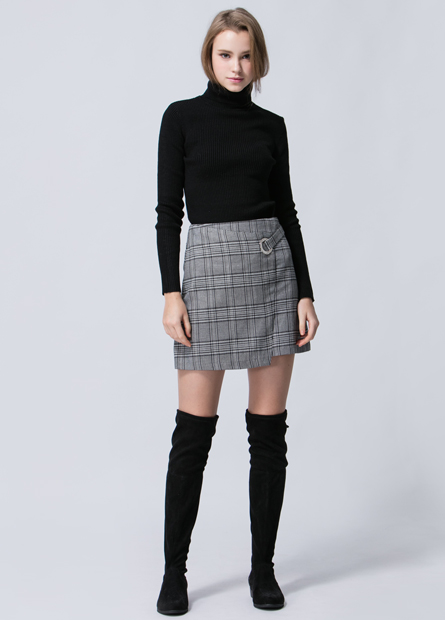 圓環格紋A字短裙