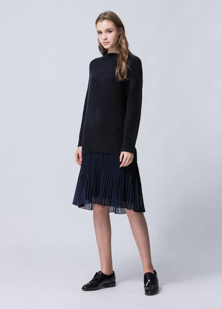 假兩件壓摺雪紡裙襬寬毛衣洋裝