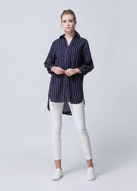 V領綁結袖條紋長版襯衫