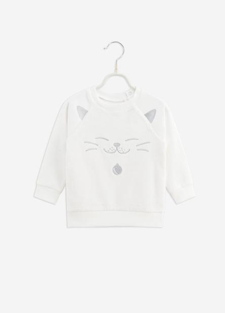 女嬰刺繡貓咪臉珊瑚絨上衣