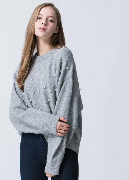 混紡羊毛前片釘珠水鑽毛衣