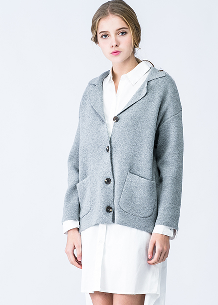 混紡羊毛西裝領毛衣外套