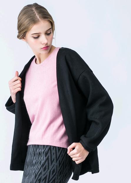 混紡羊毛口袋披掛外套
