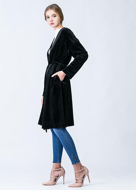 素色絨布綁帶披掛長外套