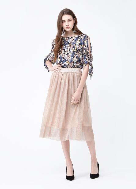 素色銀蔥百摺長裙