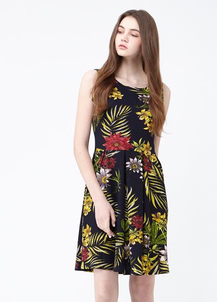 浮紋素色條紋印花中腰洋裝