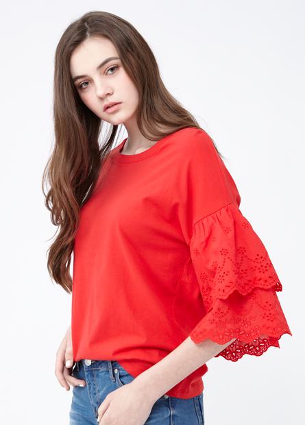 素色袖雙層縷空蕾絲上衣