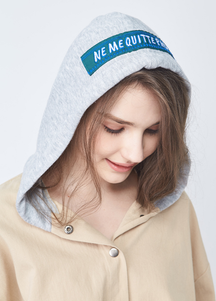 綁帶異材質連帽長外套