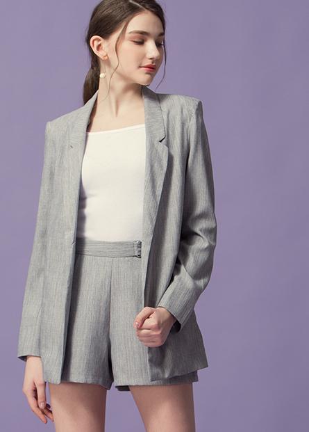 素色條紋西裝外套
