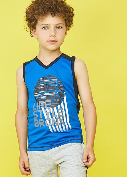 男童V領籃球運動背心