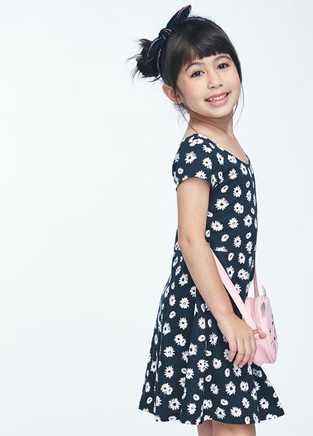 女童印花中腰短袖洋裝