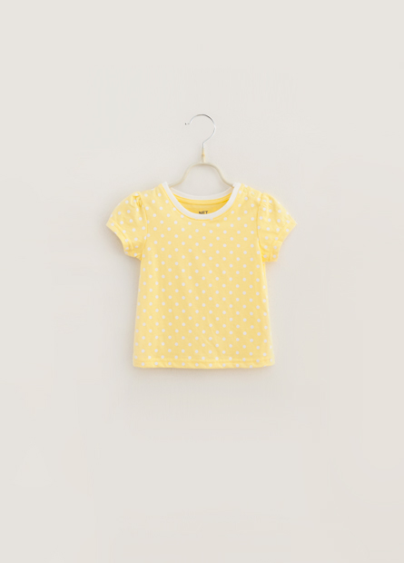 女嬰繡圖亮片印花泡泡袖上衣