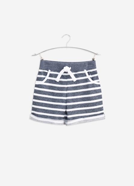 男嬰素色條紋抽繩反摺短褲