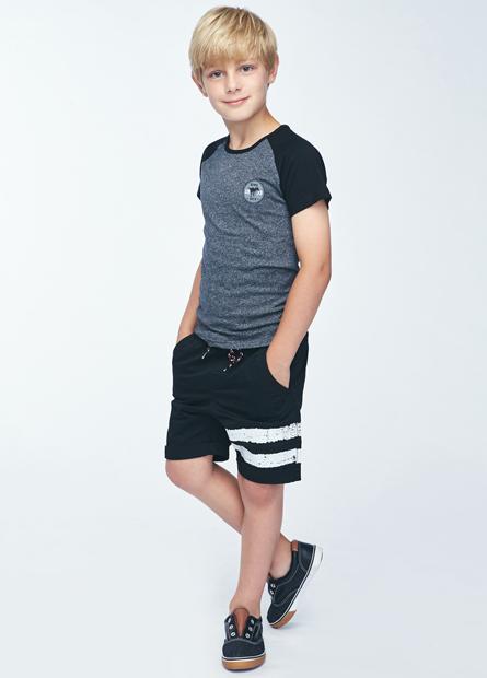 男童印字條紋抽繩短褲