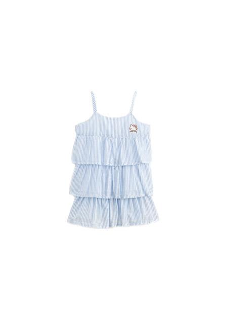 女嬰條紋細肩帶層次拼接洋裝