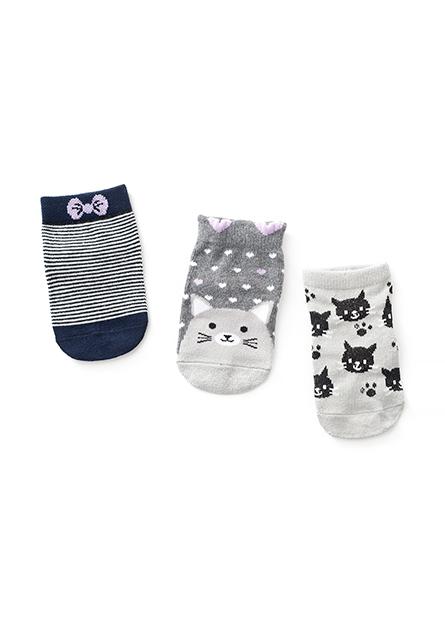 嬰兒動物堤花短襪(三入)