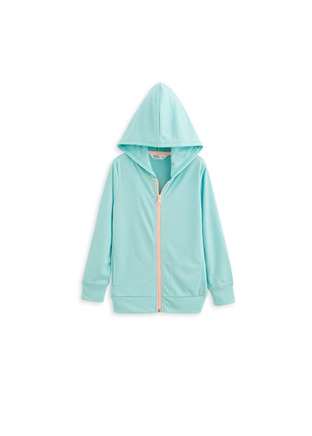 女童抗UV撞色連帽外套