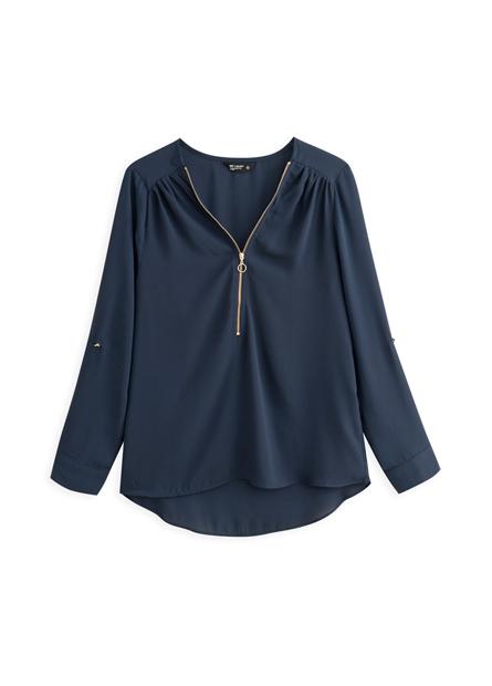 拉鍊V領捲釦長袖上衣