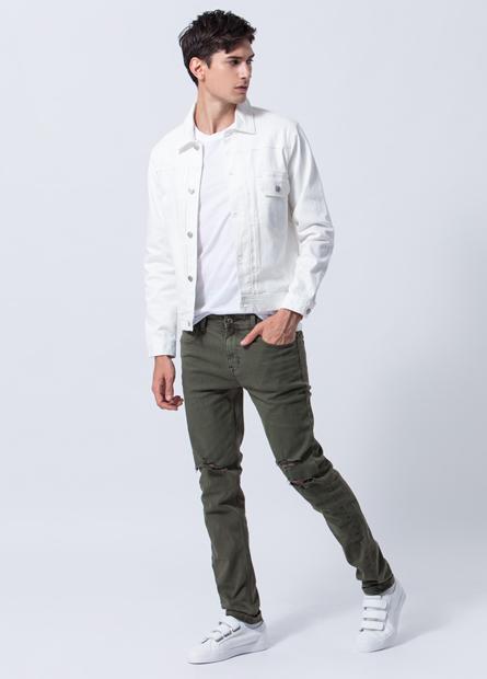 Skinny Fit磨破多色牛仔褲