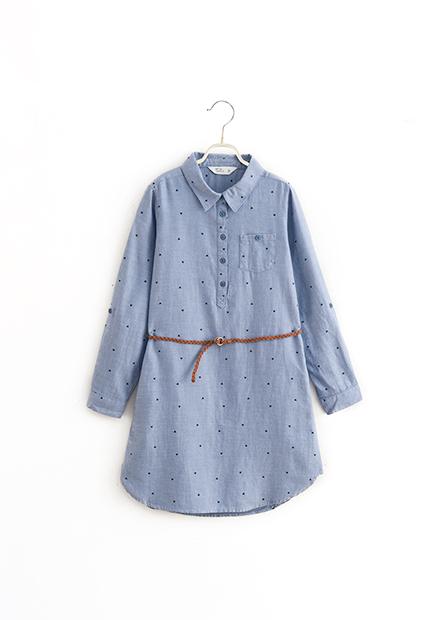 女童附腰帶襯衫領洋裝