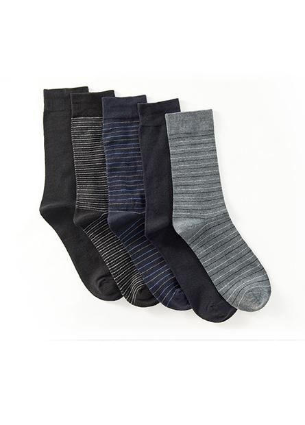 男素色長襪(五入)