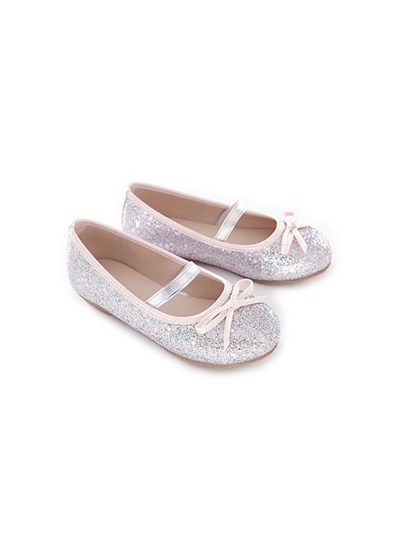 女童皮質蝴蝶結平底鞋