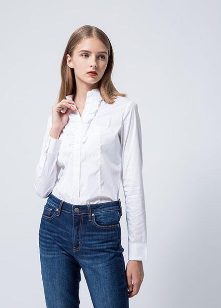 商務半荷葉襟長袖襯衫