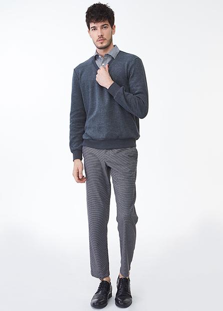 Slim Fit九分斜紋長褲
