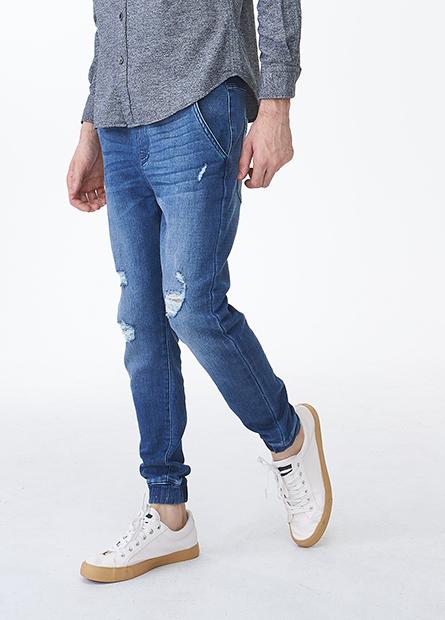 Slim Fit磨破縮口牛仔長褲