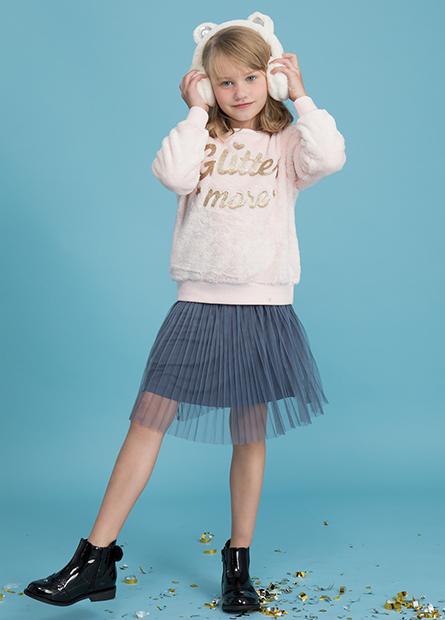 女童素色百摺網紗短裙