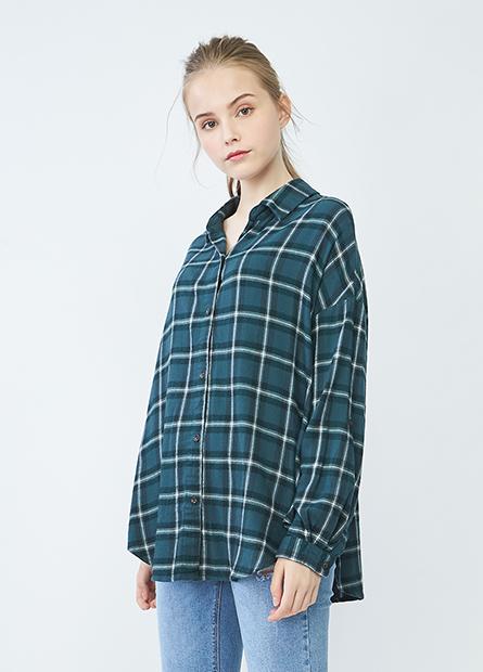 V領捲釦長袖襯衫
