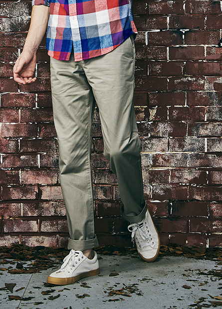 Regular Fit素色斜紋長褲