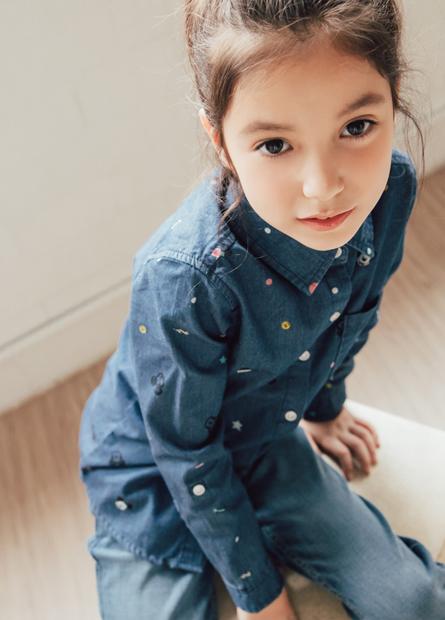 女童米奇修身牛仔襯衫