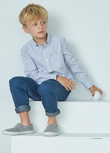Regular Fit男童反摺長褲