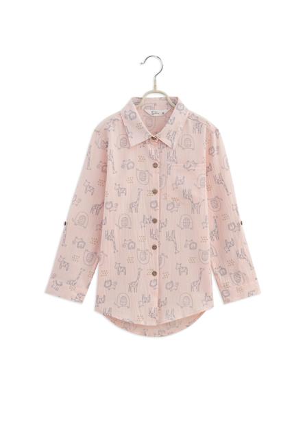 女童口袋印花捲釦襯衫