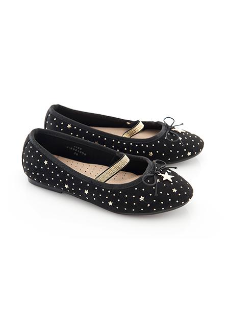女童仿羊絨星星平底鞋