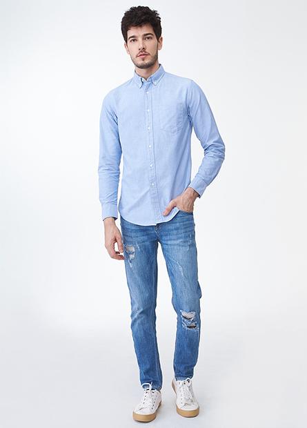 Slim Fit鈕釦領口袋襯衫