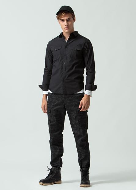 Slim Fit口袋長袖襯衫