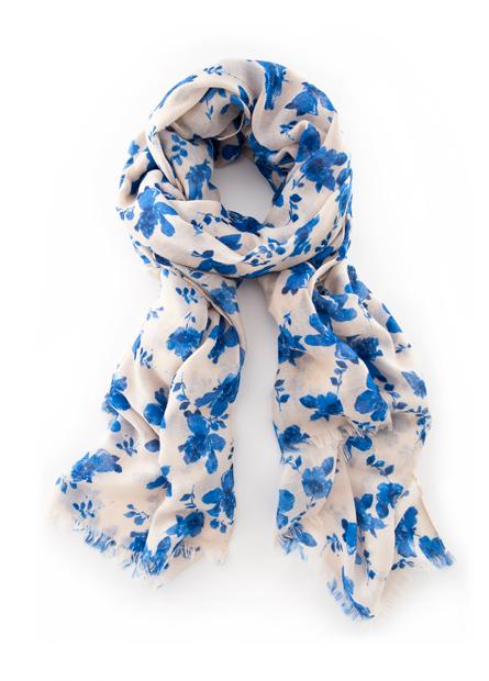 藍花朵鬚邊絲巾