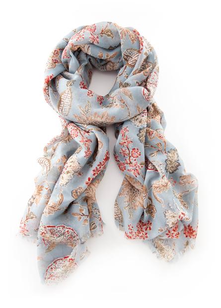 花卉鬚邊絲巾