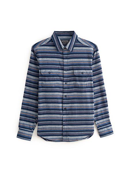 法蘭絨雙口袋長袖襯衫
