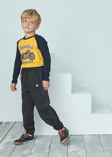 男童印字拼接運動長褲
