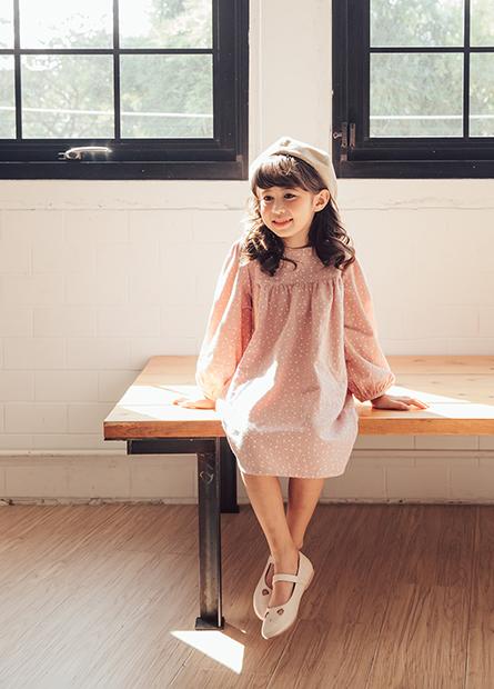 女童拼接印花洋裝