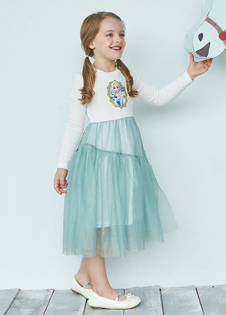 女童艾莎接紗裙長洋裝