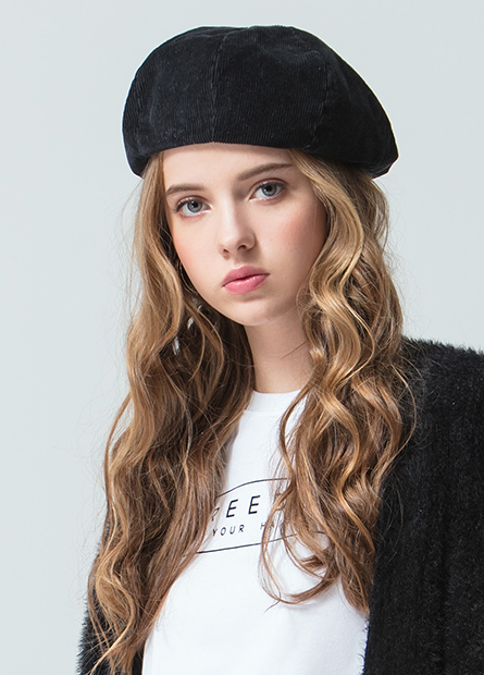 燈芯絨麂皮貝蕾帽