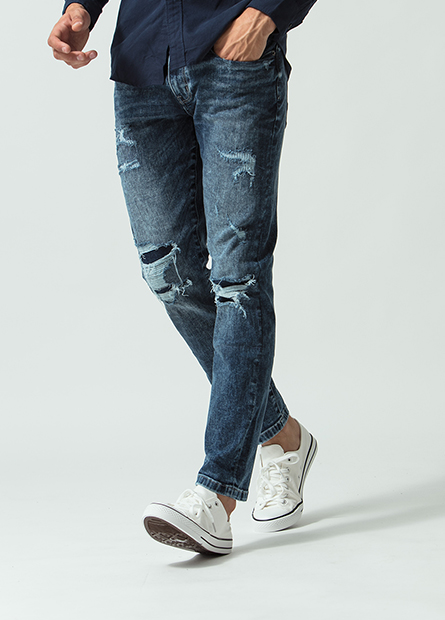 Skinny Fit磨破補釘牛仔長褲