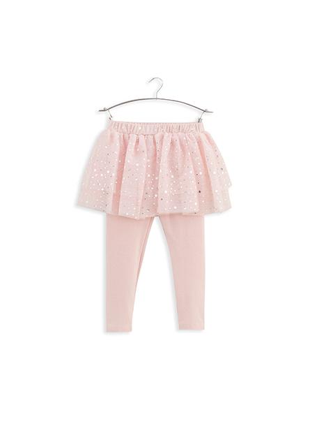 女嬰印花網紗襯裙長褲