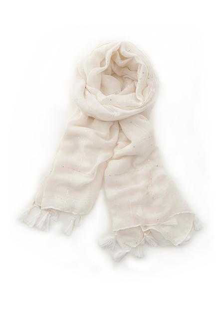 素色縫亮片流蘇邊絲巾